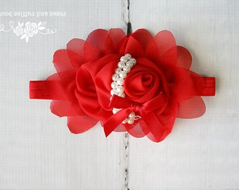 Red Baby Headband, Baby Girl Headband, Newborn Headband, Red Rose Baby Headband, Baby Photo Prop, Infant Headband, Toddler Headband