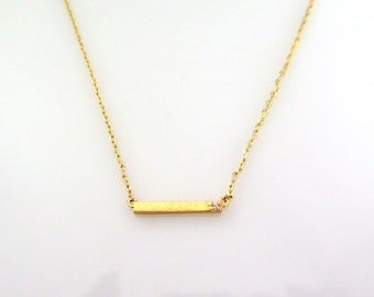 Tiny Gold Bar Necklace, CZ Gold Bar Necklace, Delicate Bar Necklace, Horizontal Gold Bar, Gold Minimalist Jewelry