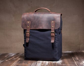 Canvas backpack men - backpack for men - mens backpack - canvas rucksack - laptop bag