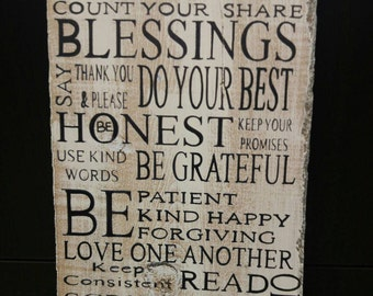 Family Rules Distressed Wood Sign Family Room Decor Subway Sign