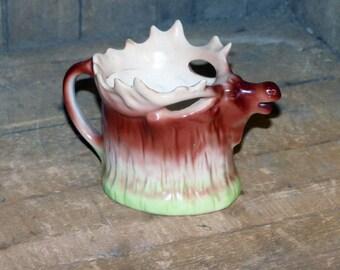 Moose Porcelain Creamer, Czech Hand Painted Elk Jug - 1088