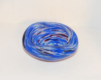 Murano glass bowl Clear Glass, Blue Swirls - 1215