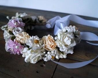 Paper Flower Crown, wedding wreath, Paper Floral Headband, Bridal Crown, Rustic Headband, Floral Head Wreath, Hair Accessories, paper flower