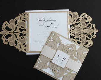 Custom Gold Laser Cut Wedding Invitations // Modern Elegant Luxury
