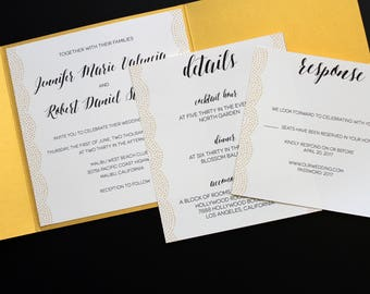 Modern Calligraphy Metallic Gold Pocketfold Wedding Invitation