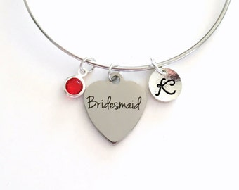 Bridesmaid Charm Bracelet Bangle Gift for Bridal Party Present Jewelry Silver Wedding color Initial Personalized custom engraved letter