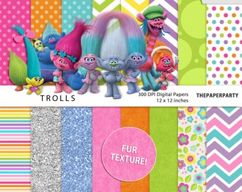 Trolls movie inspired Digital Papers Scrapbook kit 12 x 12 inches commercial use ok DIY printables.