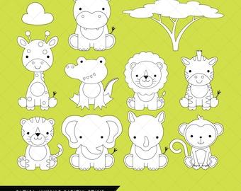 safari animals clipart printable jungle animal clip art monkey giraffe elephant. Black Bedroom Furniture Sets. Home Design Ideas