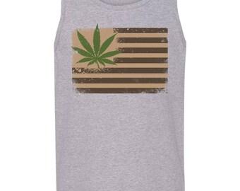 Cannabis USA Flag Men's Cool Fashion Pot Smoker Tank Tops