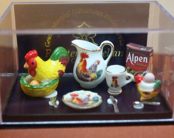 Dollhouse Miniature French Country Rooster Kitchen Set: Breakfast Table Setting by Reutter Porcelain (1/12 Scale)
