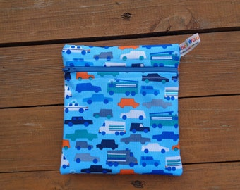 Blue Cars Trucks Small Poppins Waterproof Lined Zip Pouch - Sandwich bag - Eco - Snack Bag - Bikini Bag - Lunch Bag - Tool Bag - Swim