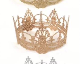 Gold Silver Lace Crown Cake Smash Photo Prop Cake Topper