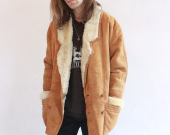 Vintage 90s Luxuriously Soft Tan coloured Suede Sheepskin Coat