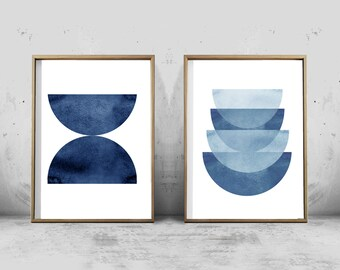 Indigo Blue Watercolor Abstract Prints Set Geometric Art Blue and White Decor Scandinavian Posters Large Printable art Minimalist Art Navy