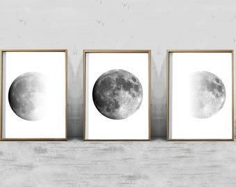 Moon Phase Art Prints Set of 3 Lunar Phases Black and White Wall art Minimalist Posters Night Sky Constellations Gray Wall art Moon Prints
