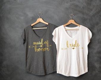Maid of Honor Shirt, Matron of Honor Shirt, Bride shirt, Bridesmaid, Bachelorette party, Bride Squad, Bride Tribe, Bridal Party Shirts