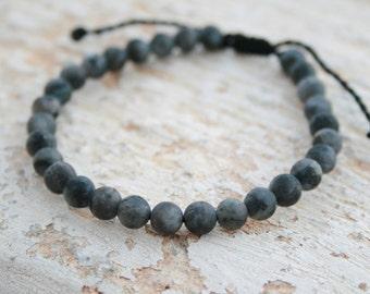 Men Bead Bracelet, Labradorite Bracelet, Men Healing Bracelet, Men Zen Bangle, Men Gift, Hipster, matte, Energy Jewelry, grey bracelet, 6mm