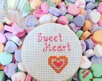Sweetheart Mason Jar, Valentine Mason Jar, Mason Jar Decor, Valentine's Gift, Cross stitch Decor, Candy Jar, Mason Jar Lid