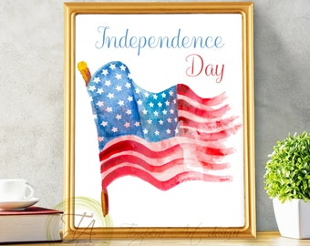 4th of July, Independence Day, USA Independence, Fourth of July Print, USA Flag, Fourth of July Decor, Printable July 4th, July 4th Wall Art