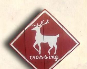 Christmas Sign - Reindeer Pallet Sign - Reindeer Crossing Sign - Christmas Decor - Custom - Hand Painted - Christmas Gift Idea