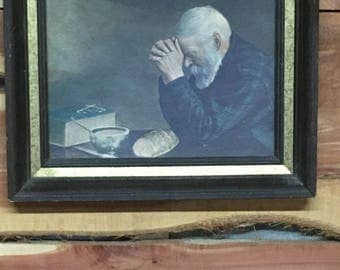 "Eric Enstrom ""Grace"", Man Praying Over Bread, Wall Hanging"