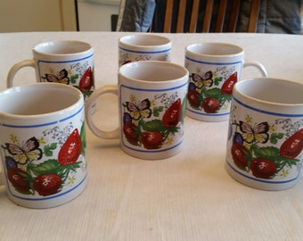 6 vintage butterfly & strawberries mugs / cups - best brands home products - flowers coffee tea latte kitchenware drinkware strawberry