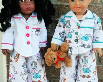 18 Inch Doll Clothes, OOAK, Designer, Flannel Pajamas, Winter Sleepwear