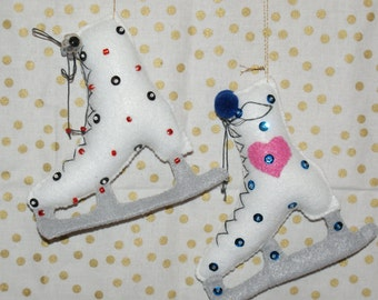 2 pc. handcrafted set of felt ice skate ornaments  **SALE** was 8.00