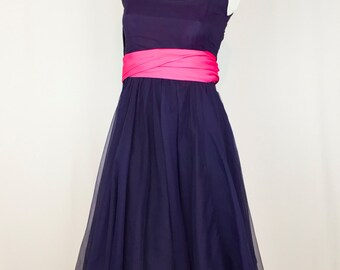 Vintage 1950's Party Dress with Pink Sash || 50s Formal Dress with Spaghetti Straps and Full Skirt