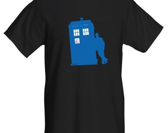 TARDIS and The Doctor T-Shirt. Black/Blue. All Sizes