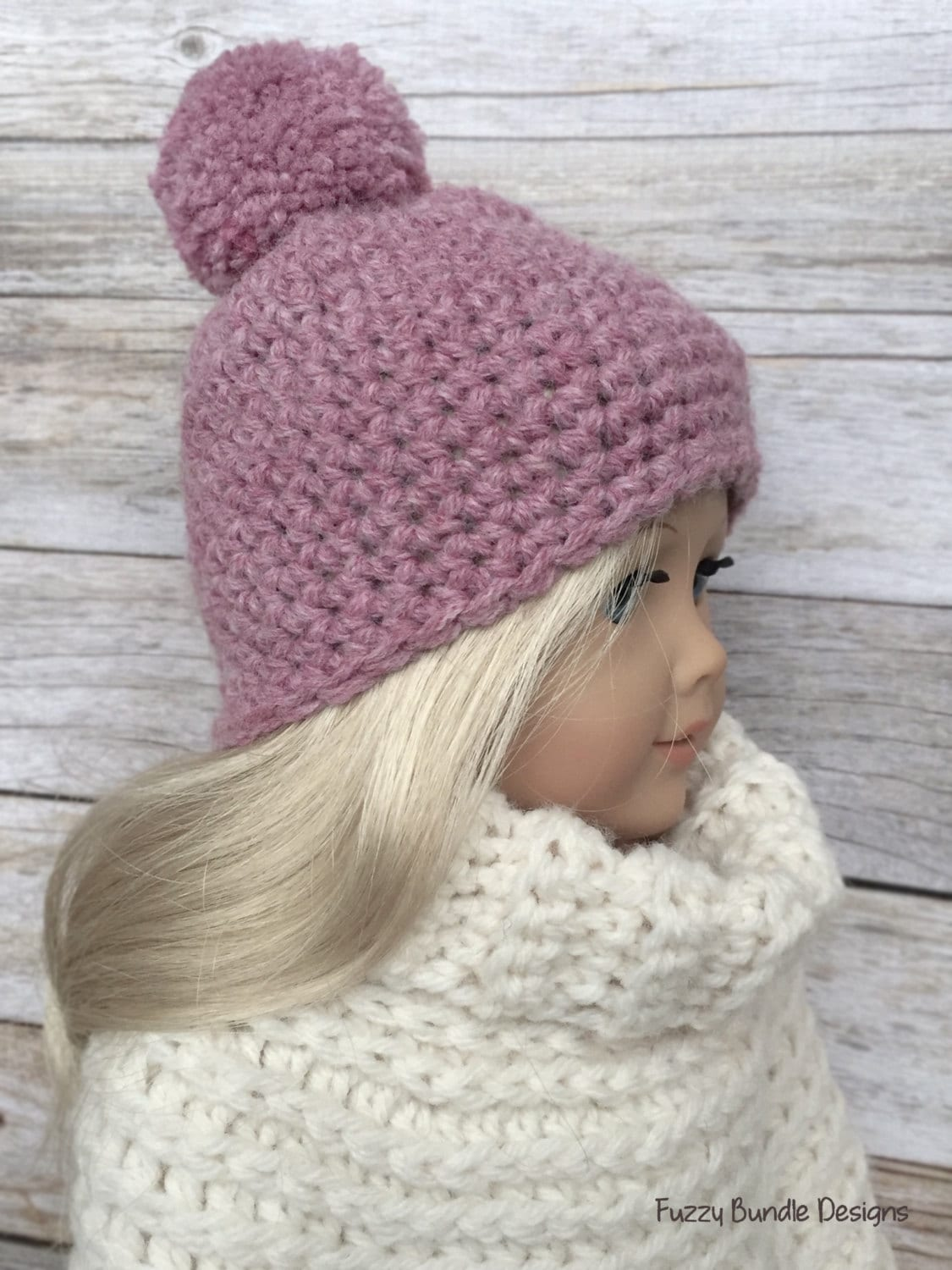 CROCHET PATTERN 18 inch Doll Pink Pom Beanie/Hat by ...