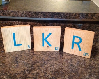 MiTiles Large Scrabble Tiles - Customizable Personalized with Initials and Birthdate