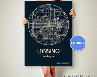 LANSING Michigan CANVAS Map Lansing Michigan Poster City Map Lansing Michigan Art Print Lansing Michigan