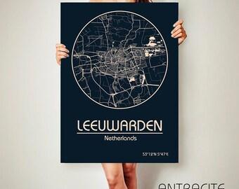 LEEUWARDEN CANVAS Map Leeuwarden Netherlands Poster City Map Leeuwarden Art Print Leeuwarden poster Leeuwarden map art Poster Leeuwarden map
