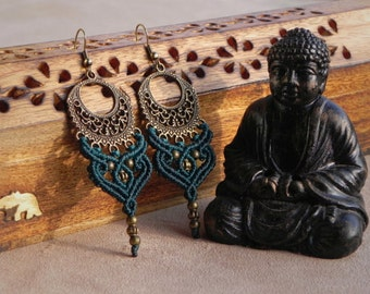 Macrame Boho Earrings 'ANANDA'. Bohemian Tribal Gypsy Ethnic Antique Brass Earrings. Spiritual Jewelry. Bellydance Elven Earrings.
