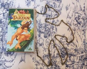 Repurposed Disney Tarzan VHS handbag, upcycled video case clutch, retro, up-cycled, repurposed shoulder bag