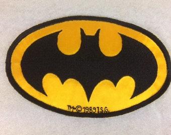 Vintage 1989 Batman Patch - Sew on Patch - Batman Logo