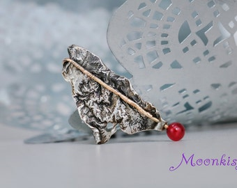 Ready to Ship - Unique Reticulated Silver with Round Carnelian Brooch - Silver Sweater Pin - Small One of a Kind Brooch - Pin with Bead