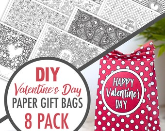 VALENTINE GIFT BAGS (8 Pack) - Printable Gift Bag Template, Paper Gift Bag Printable Template, Valentine's Day Gift, Printable Favor Bags