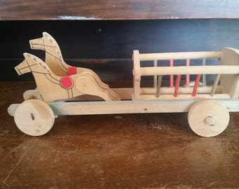 Horse and wagon, wood horse and cart made in Yugoslavia, vintage wood push toy