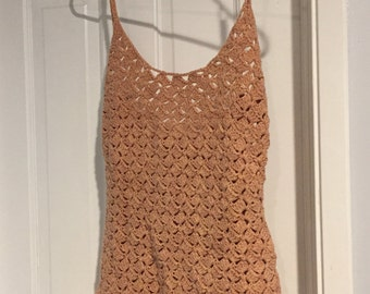 Sweet Pink Crocheted Floral Summer Top