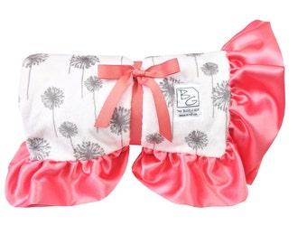 Coral Dandelion Stroller Blanket