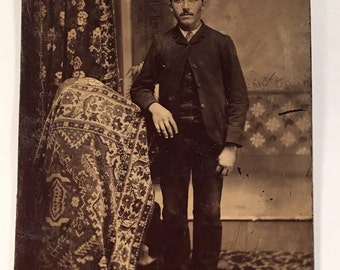Tintype of a Mustached Man, 19th Century Photograph, Antique Tintype Photo