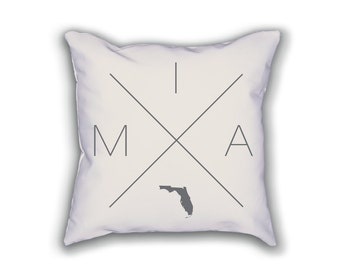 Miami Home Pillow - Florida Pillow, Florida Home Decor, Miami Home Decor, Florida Home Pillow, Florida Throw Pillow