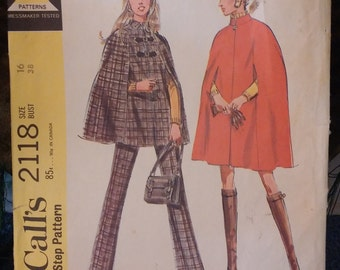 Vintage Cape Pants Pattern McCalls 2118 Uncut Vintage Fashion Mod 1960s Size 16 Bust 38
