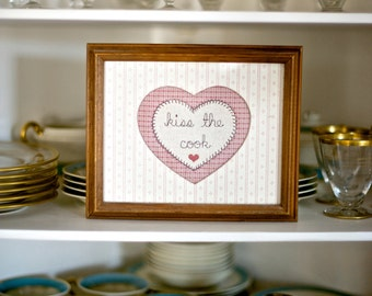 Vintage Kiss the Cook Decor | Embroidered Heart in Frame