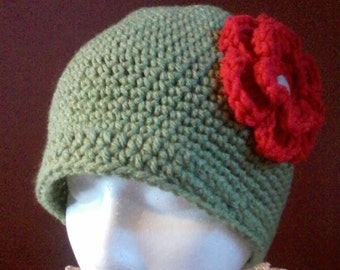 Green hat with Red flower accent