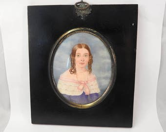 mid 19 th century miniature portrait on ivory,framed