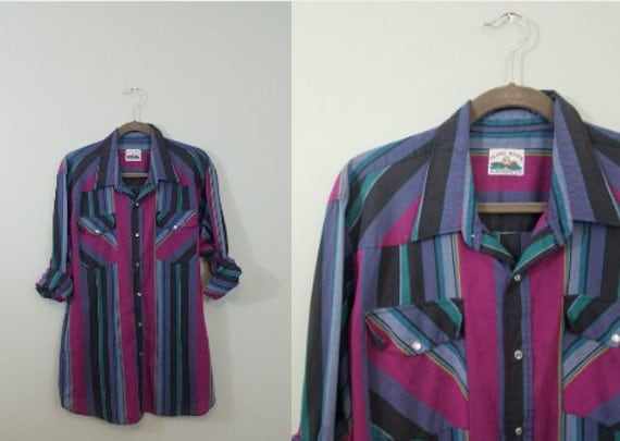 1990s does 1970s Vintage Retro Western Shirt / Vibrant Men's Snap Front Top / Magenta, Teal, Blue, Green, Black Stripes / Modern Size XL