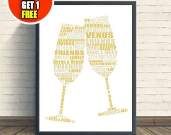 Wine glasses, celebration print, engaged print, marriage print, anniversary print